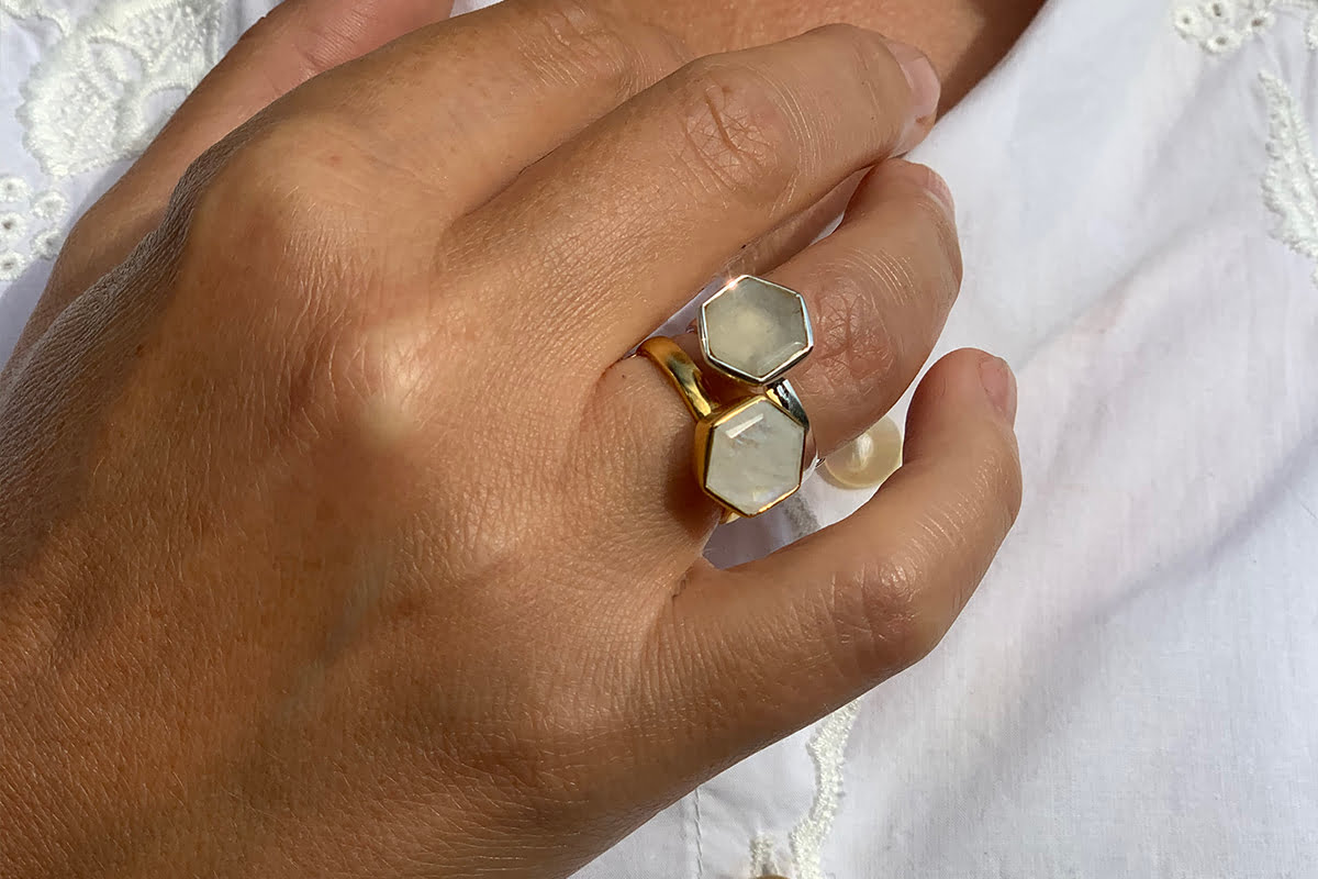 One Love Rainbow Moonstone adjustable ring - designed by you