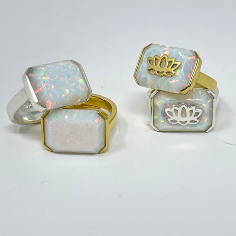 Opal quartz lotus adjustable ring in gold and silver SVP jewellery
