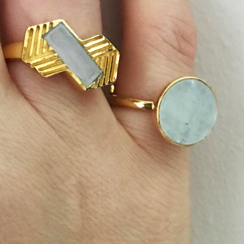 Rainbow Moonstone adjustable rings for summer