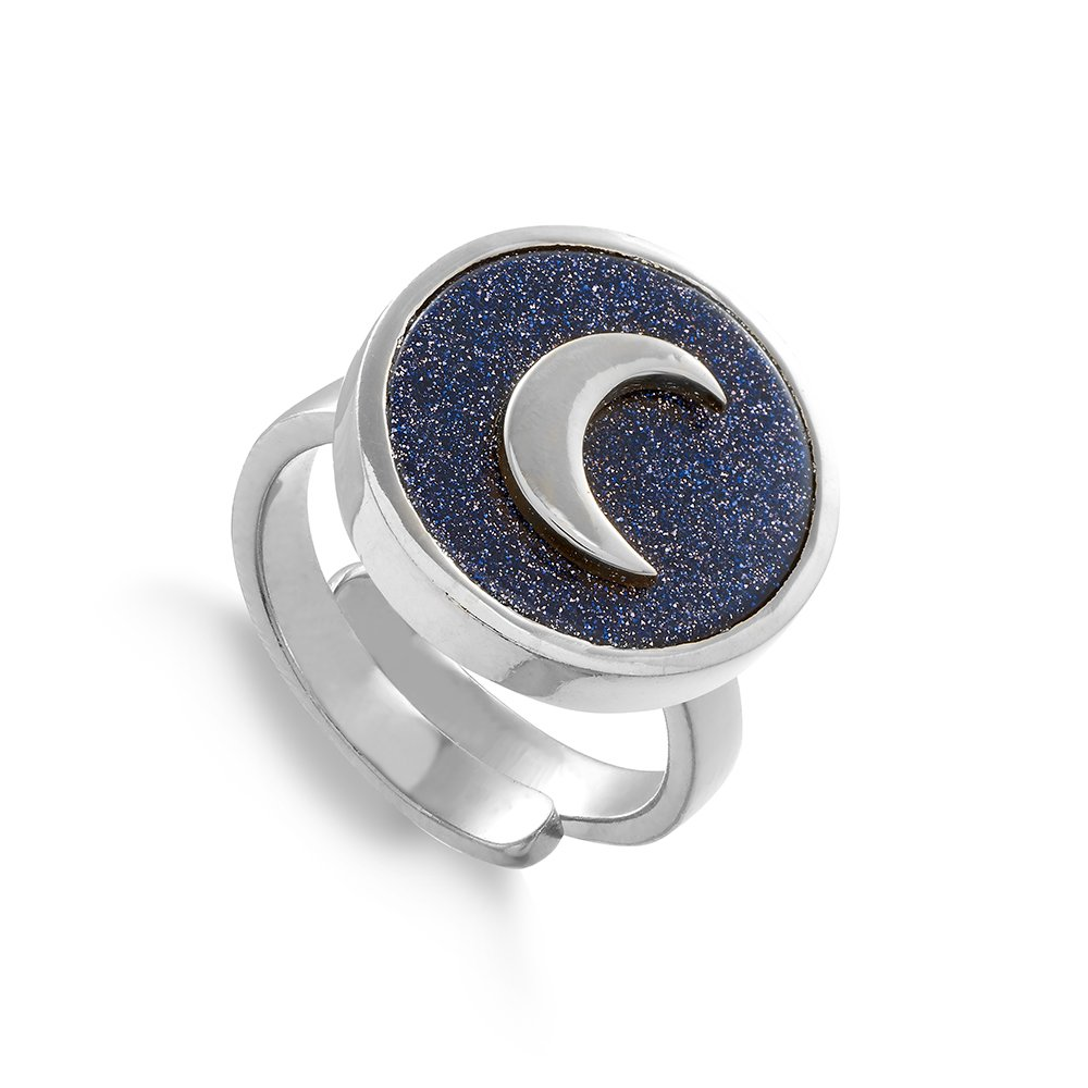 SNR01BUSS Stellar Moon Blue Sunstone Sterling Silver SVP Adjustable Ring