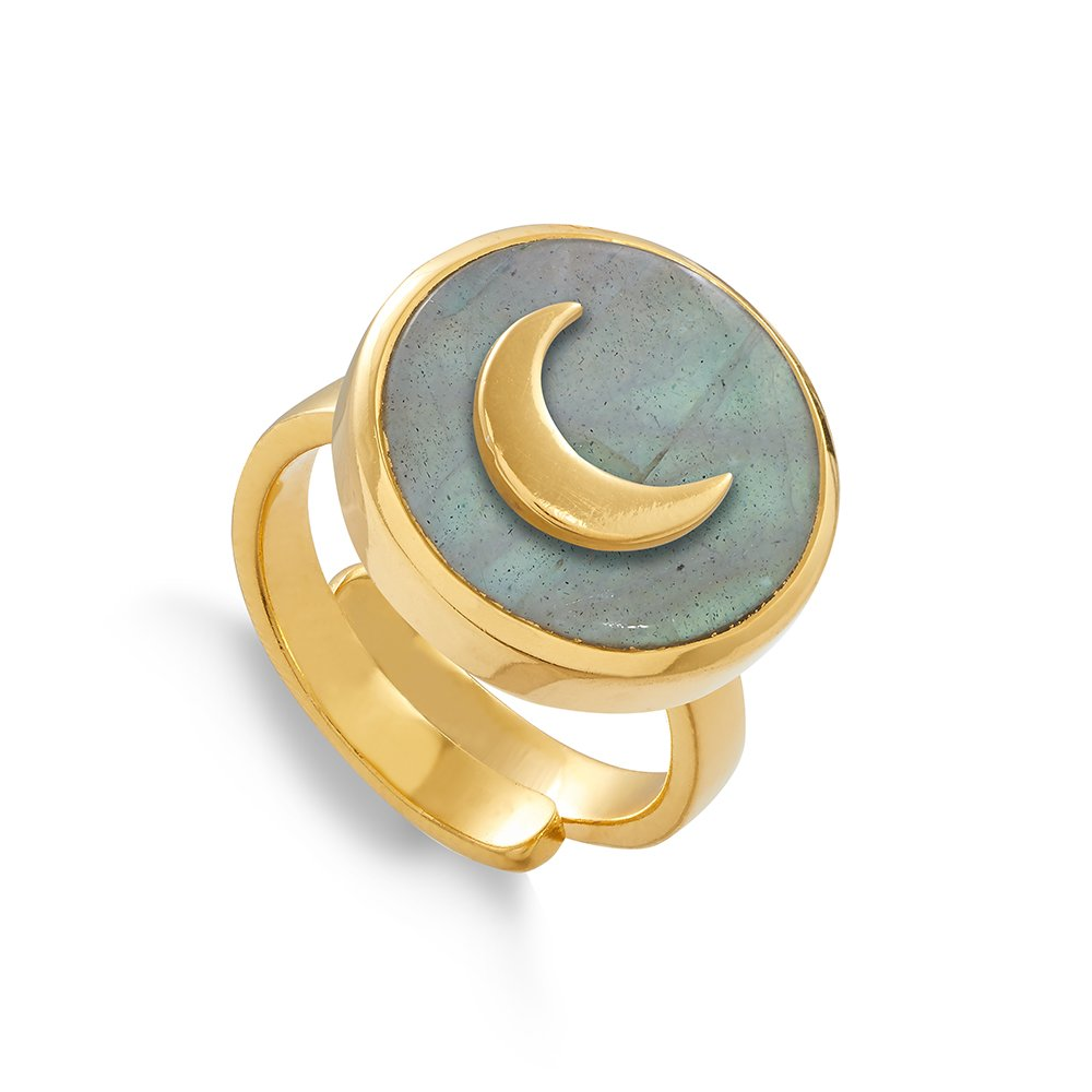 SNR01LAYV Stellar Moon Labradorite Gold Vermeil SVP Adjustable Ring