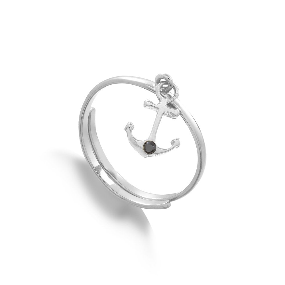 Supersonic Medium Anchor Charm Ring in Sterling Silver