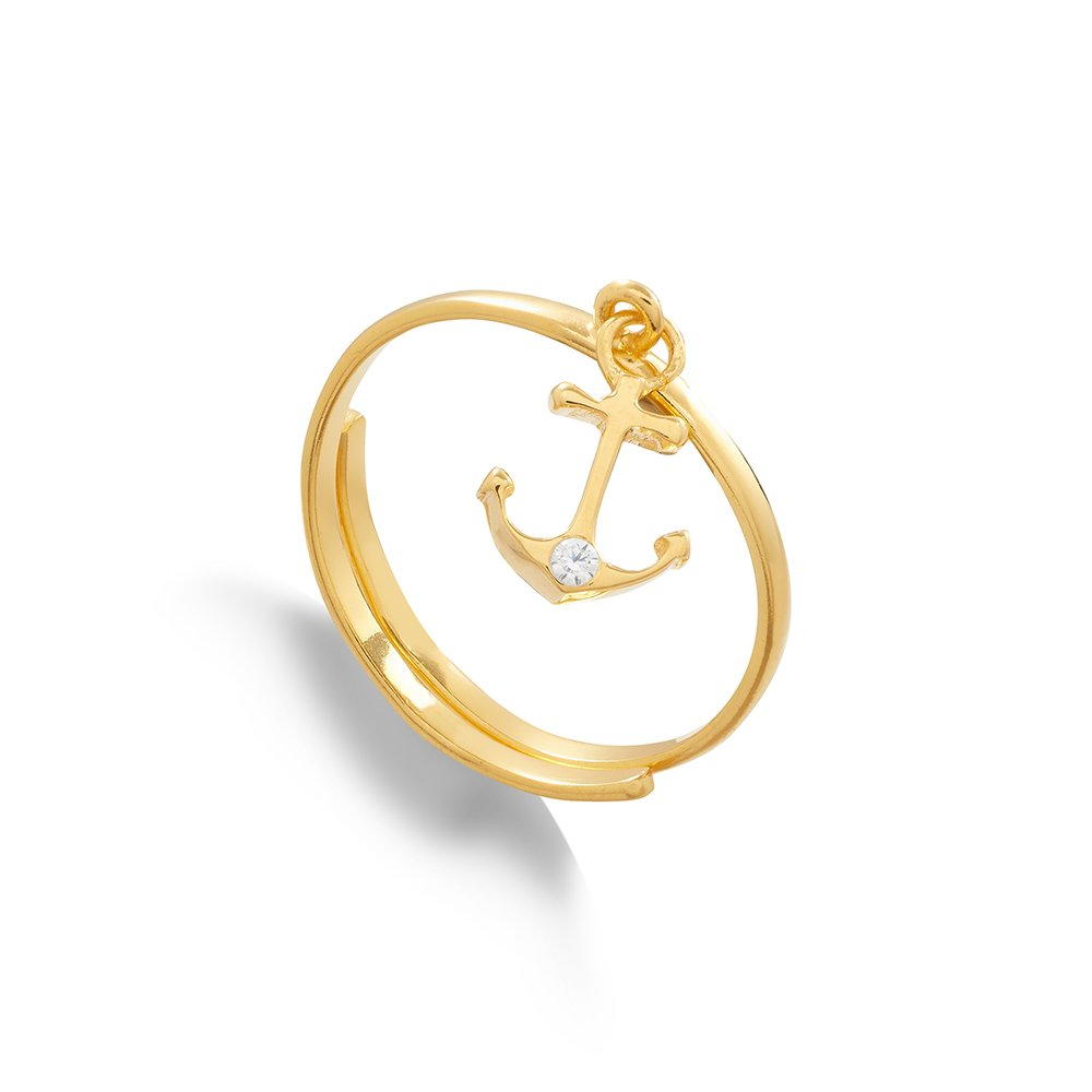 Supersonic Medium Anchor Charm Ring in 18 Carat Gold Vermeil