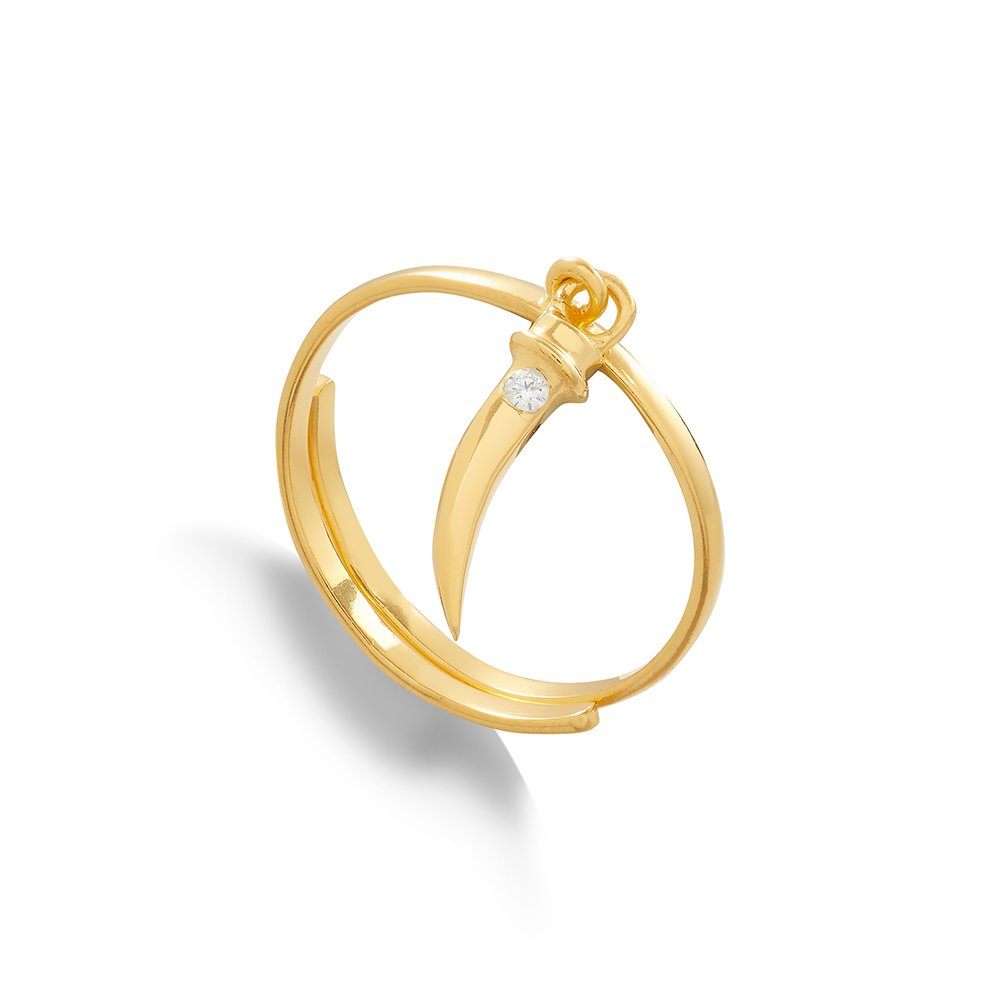 Supersonic Medium Tusk Charm Ring in 18 Carat Gold Vermeil
