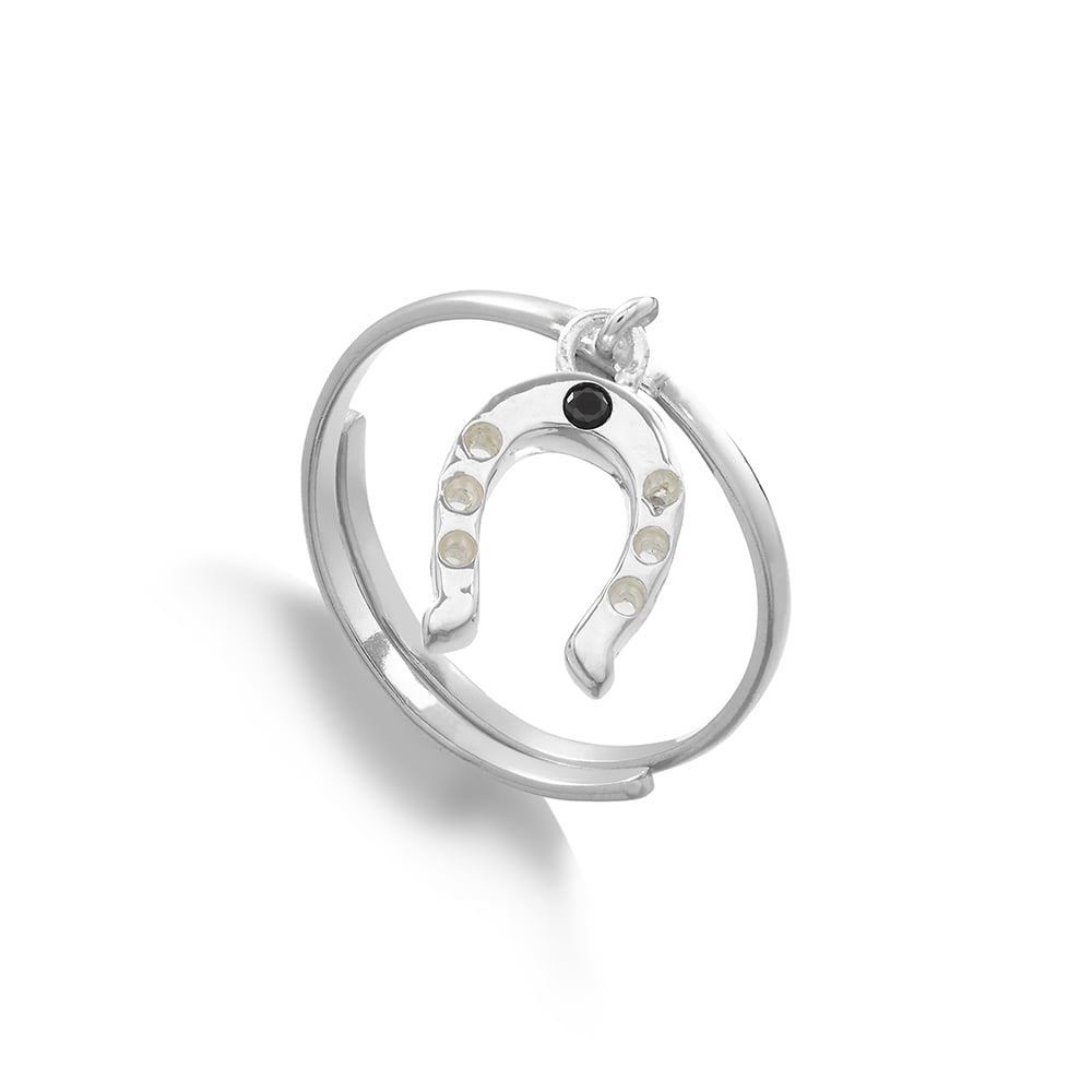 Supersonic Medium Horseshoe Charm Ring in Sterling Silver