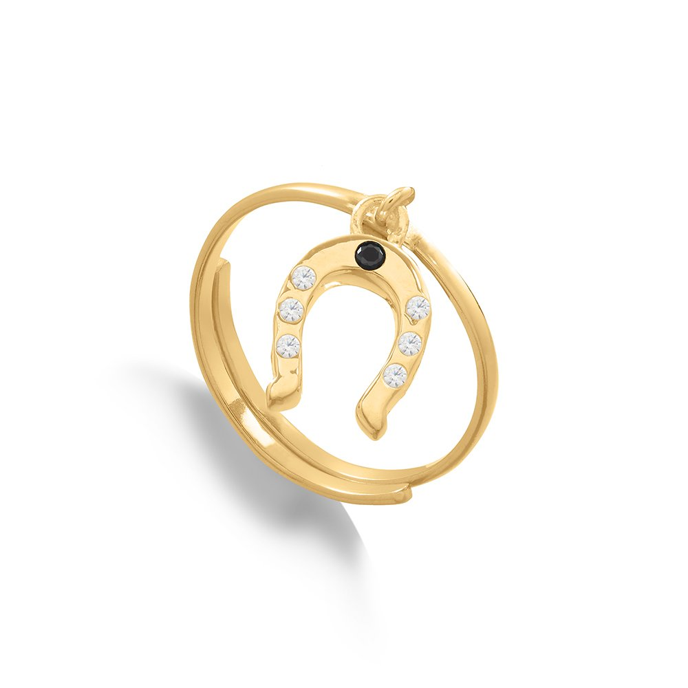 Supersonic Medium Horseshoe Charm Ring in 18 Carat Gold Vermeil