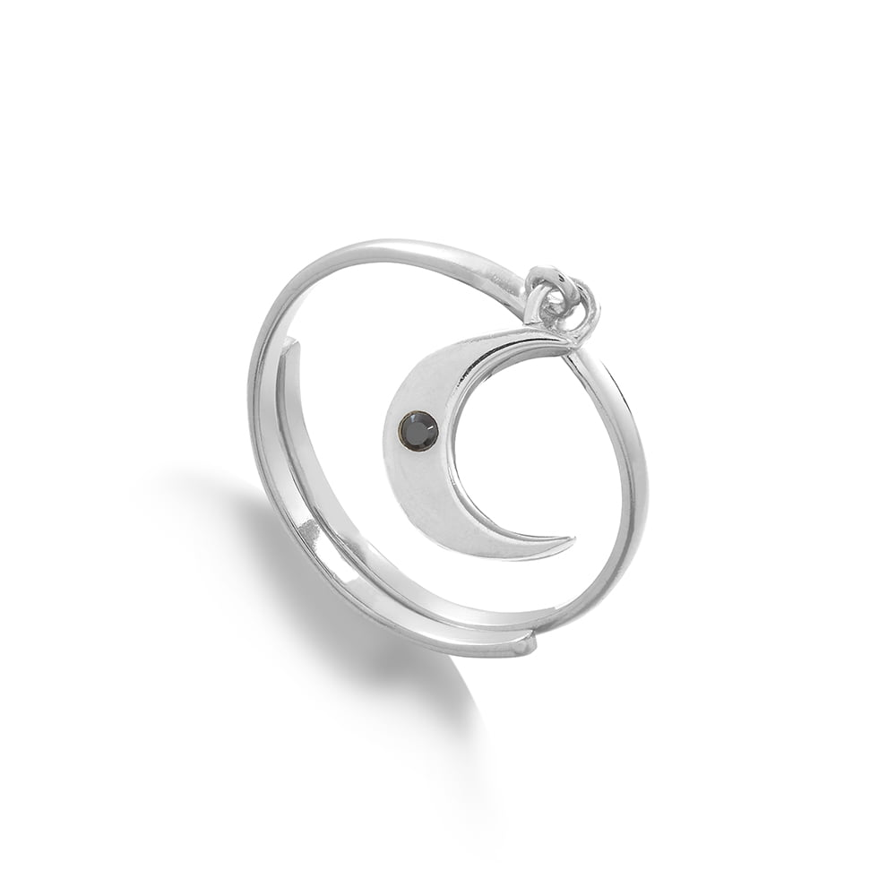 Supersonic Medium Moon Charm Ring in Sterling Silver