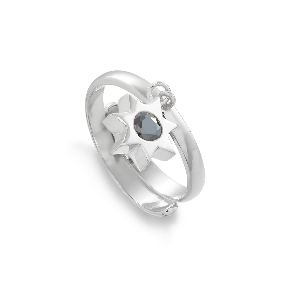 Supersonic Large Sunstar Charm Ring in Sterling Silver
