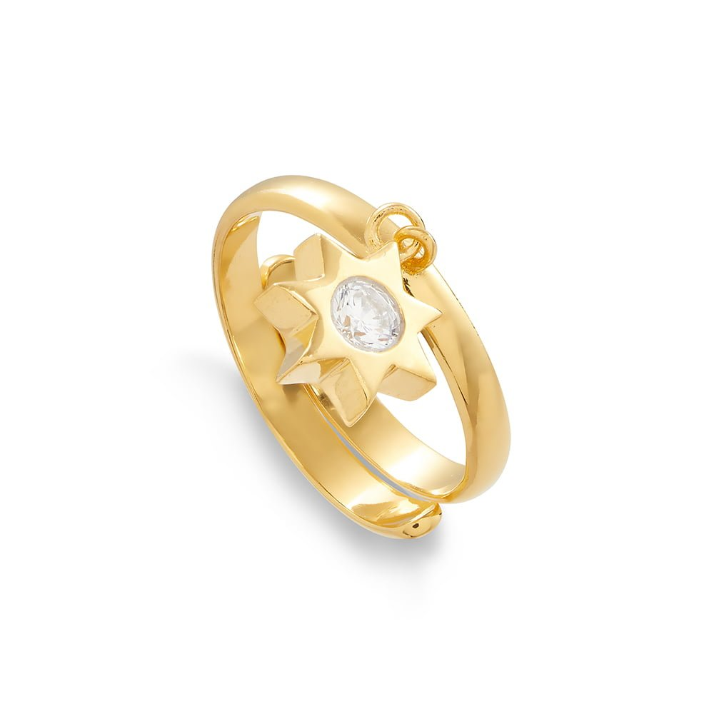 Supersonic Large Sunstar Charm Ring in 18 Carat Gold Vermeil
