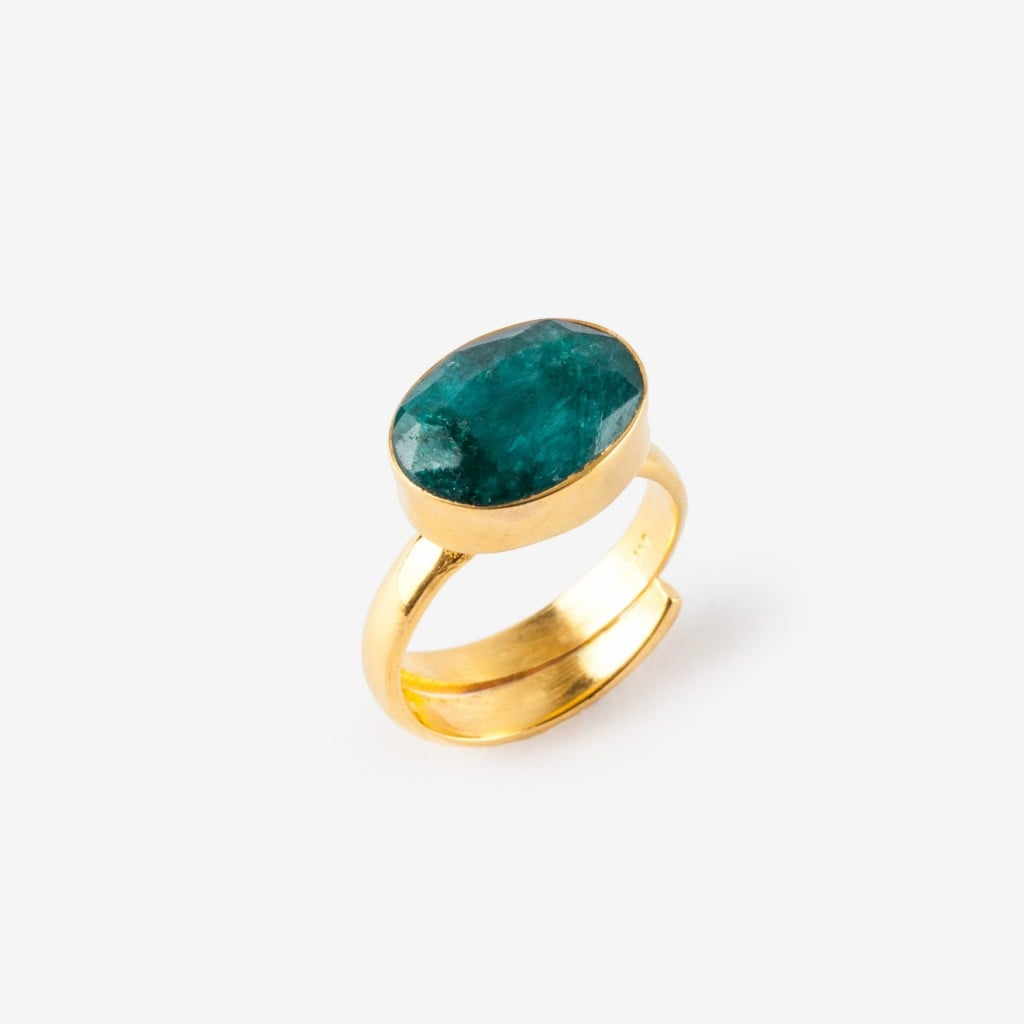 SVP Jewellery adjustable emerald ring