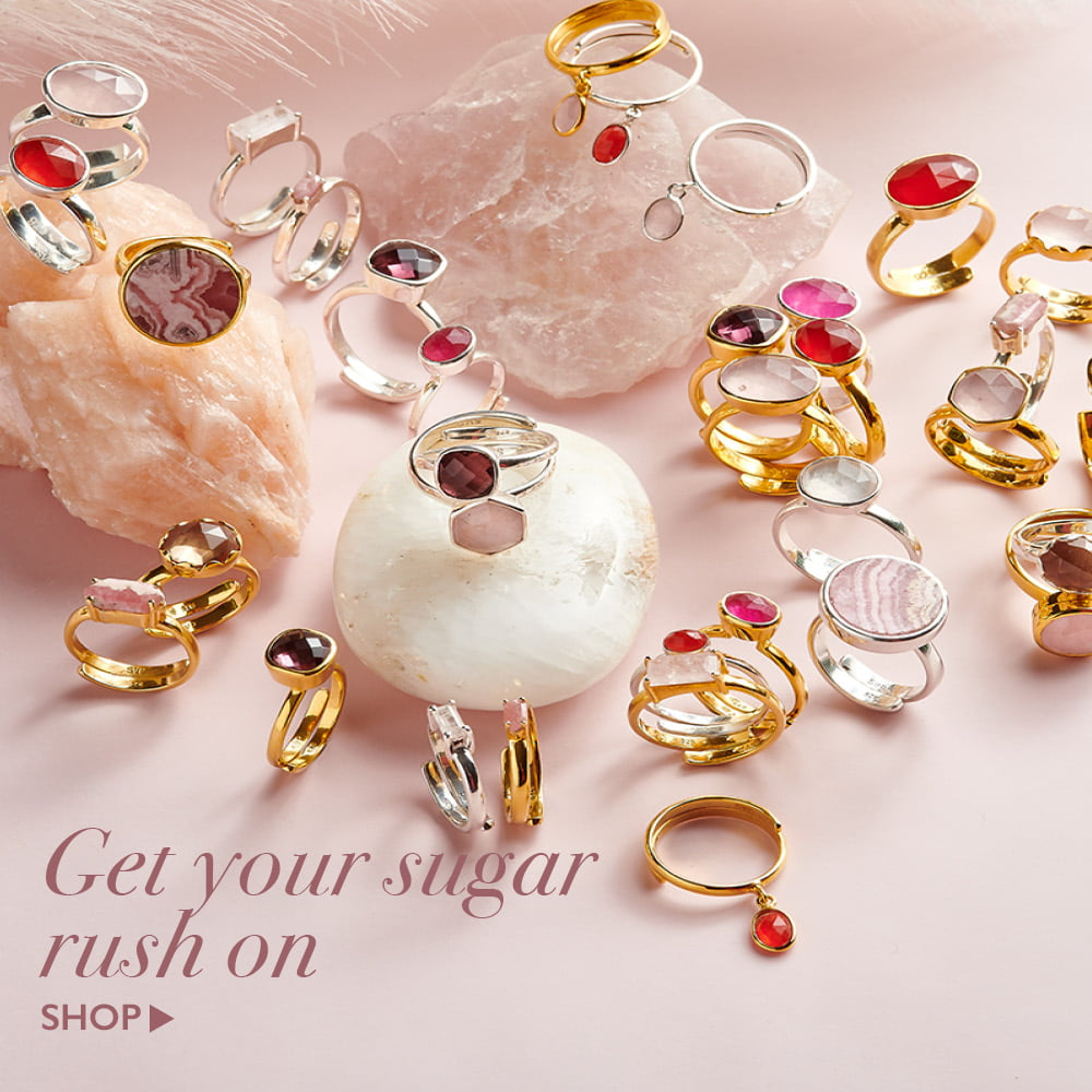 Shop pink gemstone adjustable rings at SVP Jewellery