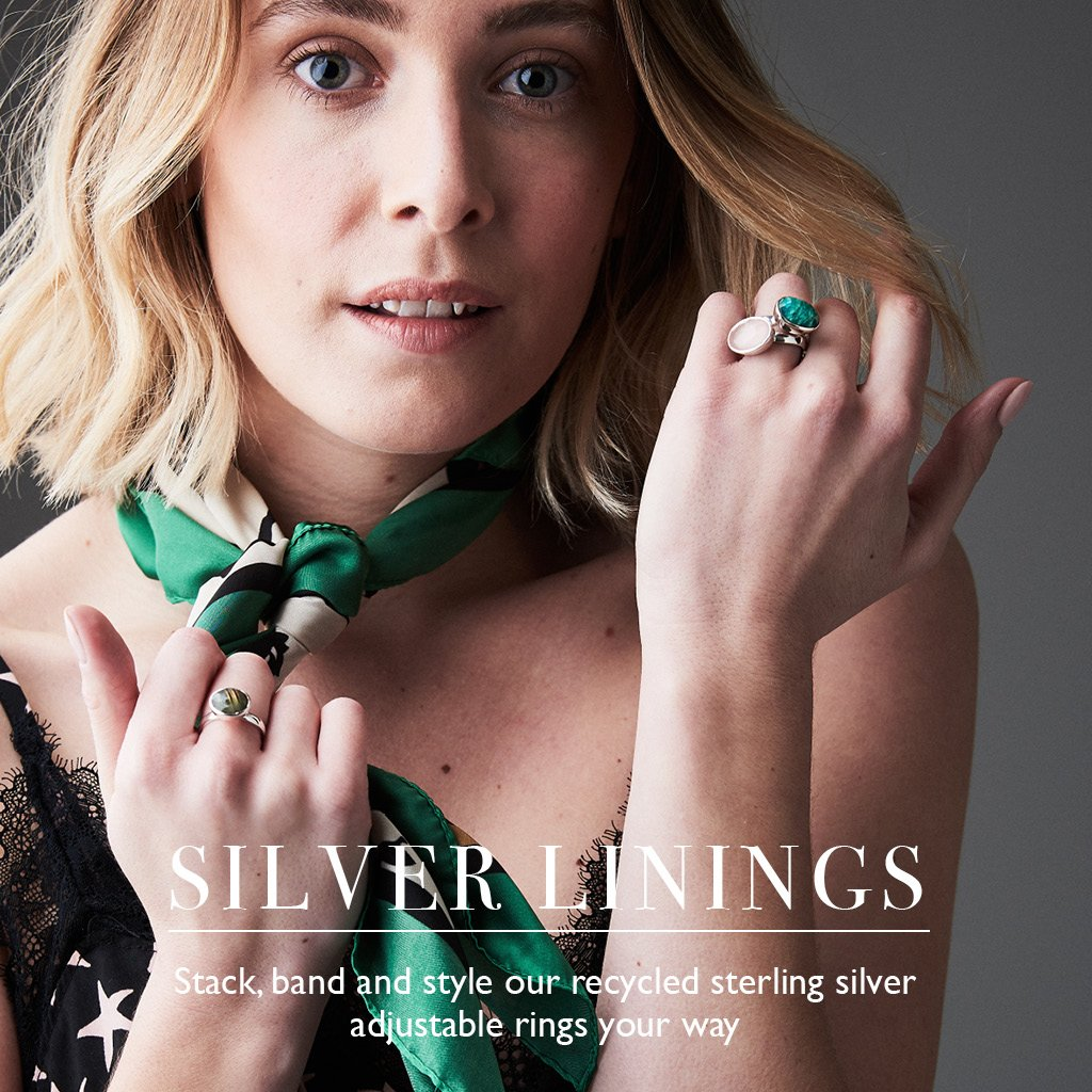 Silver Linings. Stack, band and style our recycled sterling silver adjustable rings your way