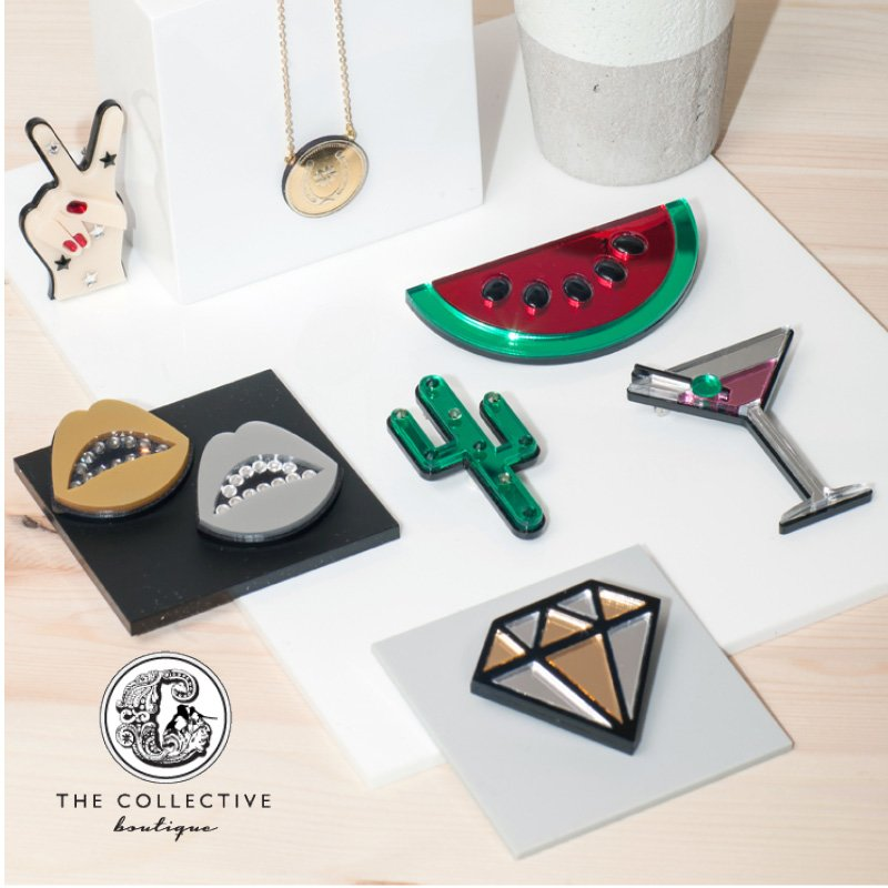 The Collective brooches and necklaces