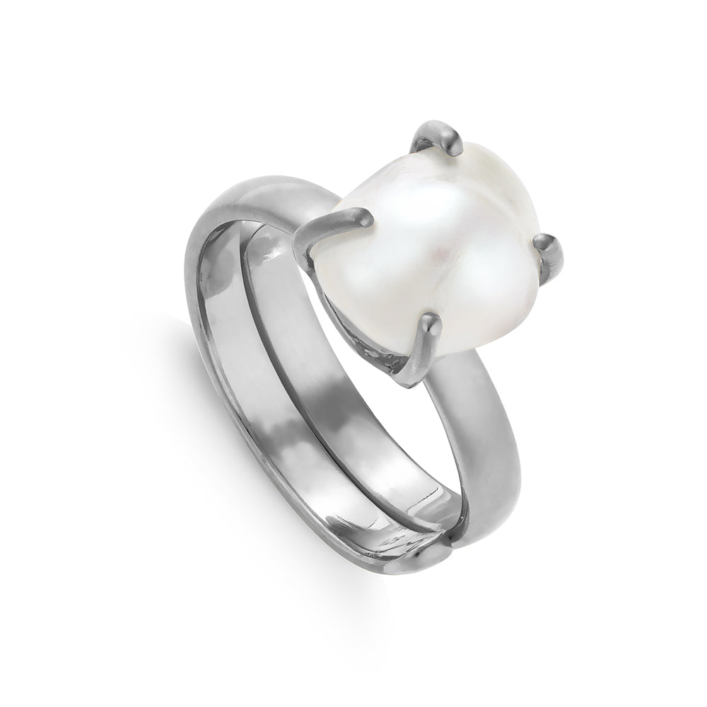 SVP adjustable ring. Veta white Baroque Pearl set in recycled Sterling Silver