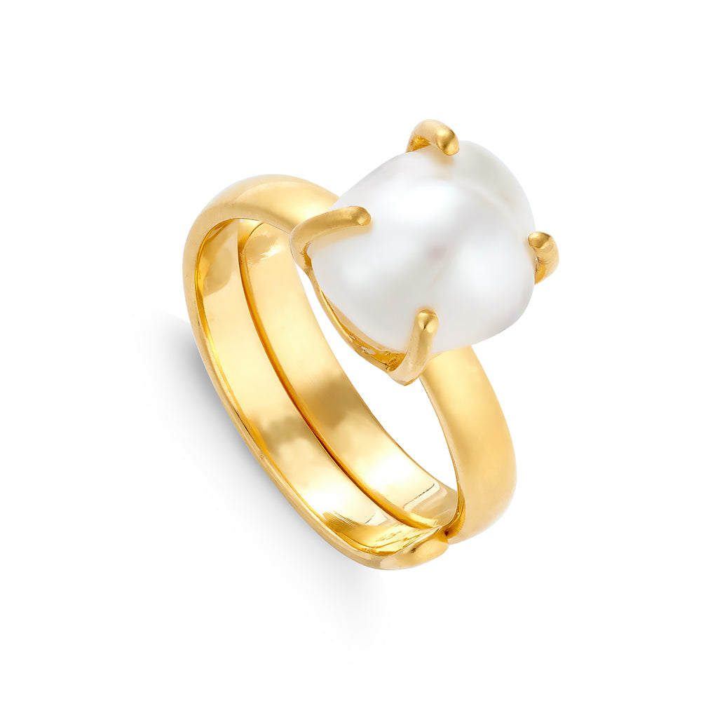 SVP adjustable ring. Veta white Baroque Pearl set in recycled 18 carat gold vermeil