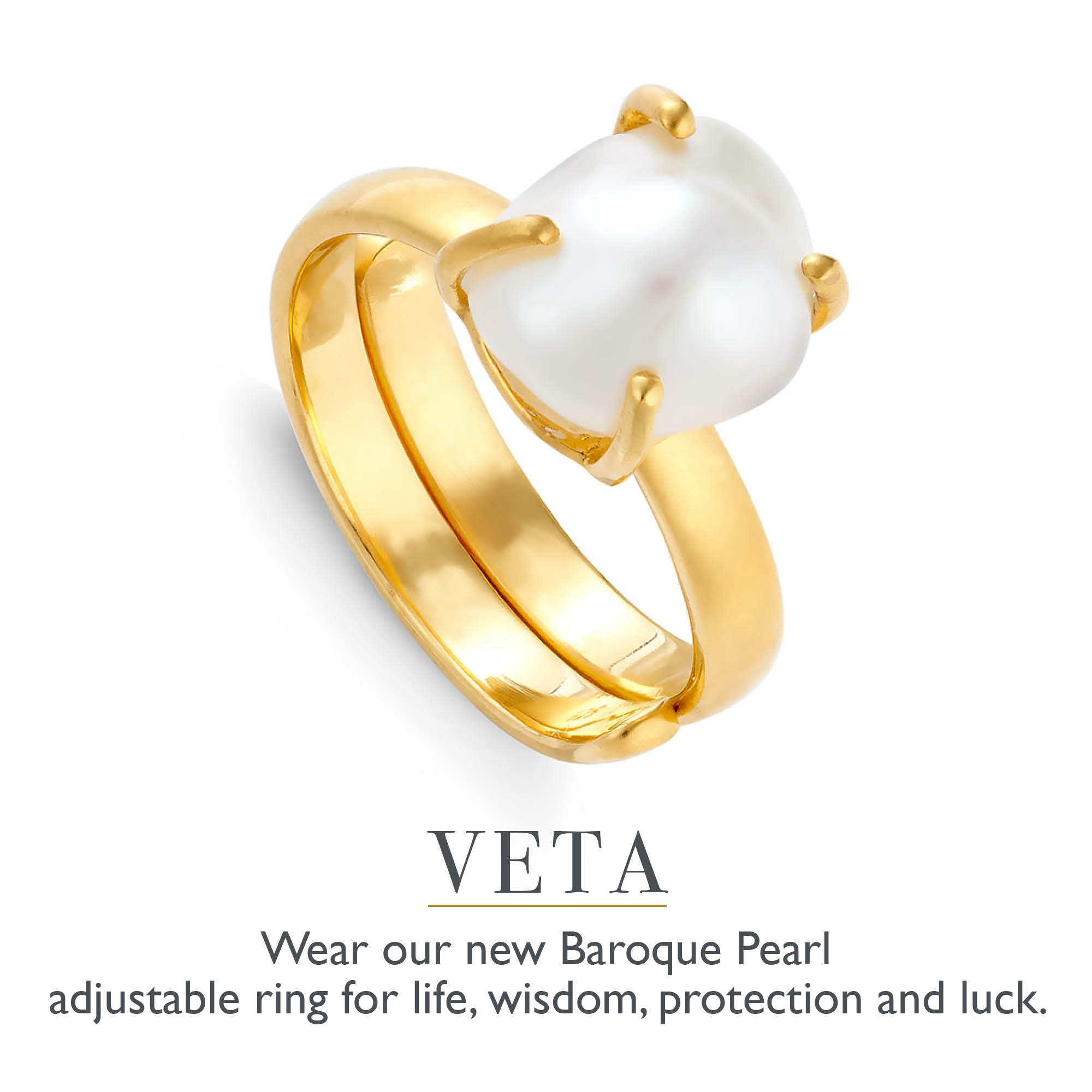 Veta new Baroque Pearl Adjustable ring by SVP Jewellery