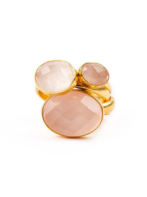 SVP adjustable rings rose quartz