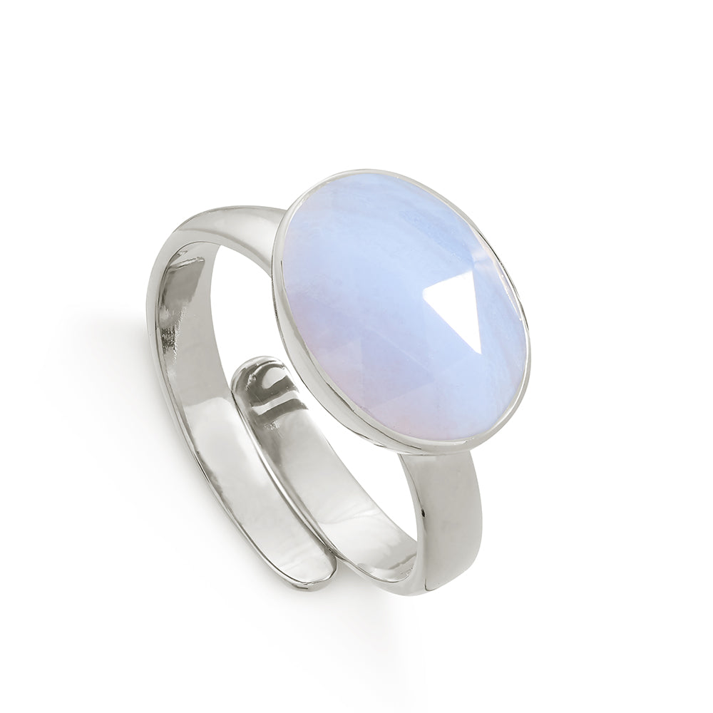 Atomic Maxi Blue Lace Agate Silver Ring