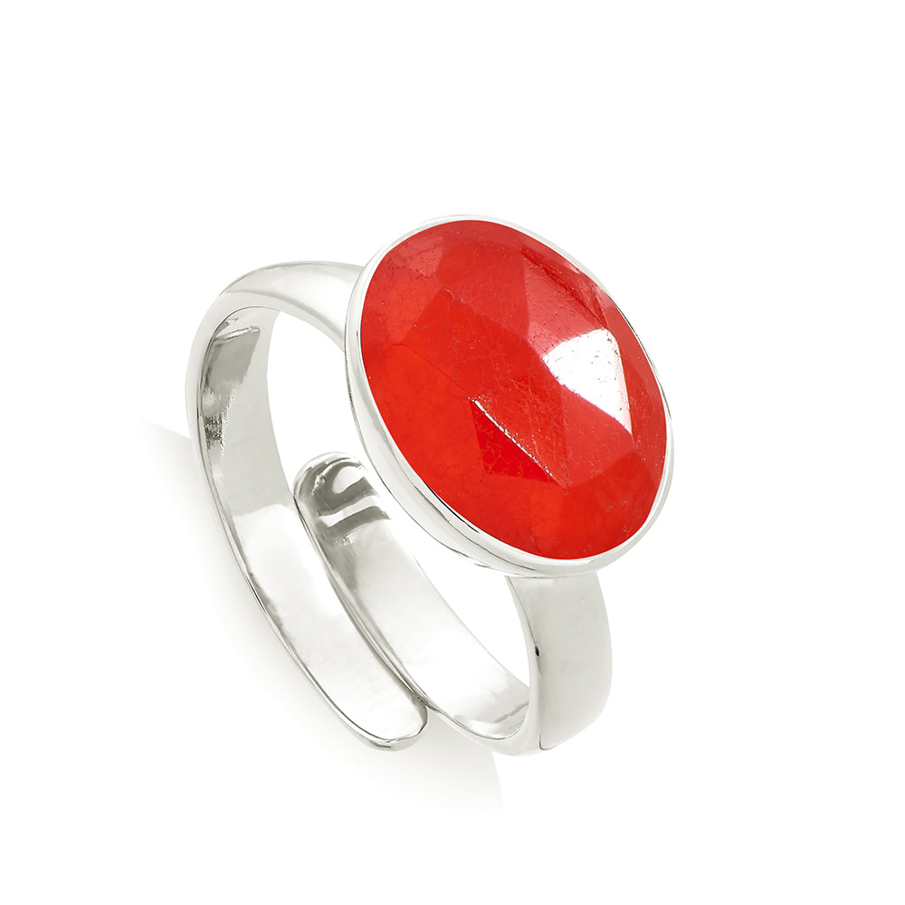 Atomic Maxi Red Quartz Silver Ring