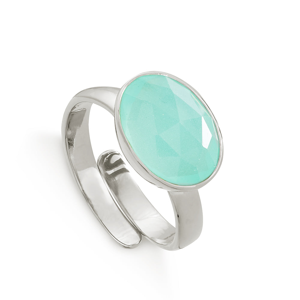 Atomic Maxi Light Green Chalcedony Silver Ring