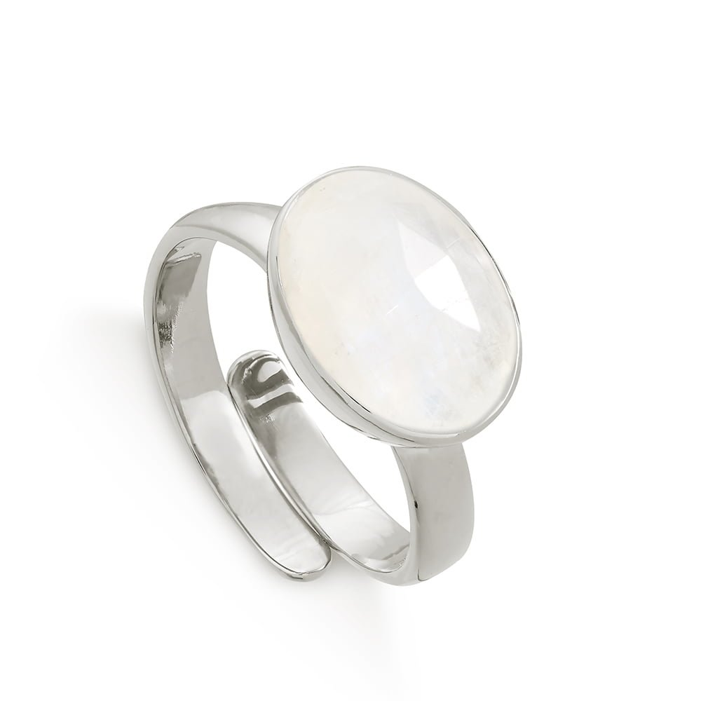 Atomic Maxi Rainbow Moonstone Silver Ring