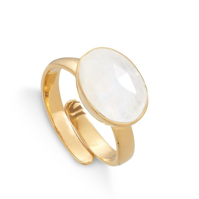 Atomic Maxi Rainbow Moonstone Gold Ring