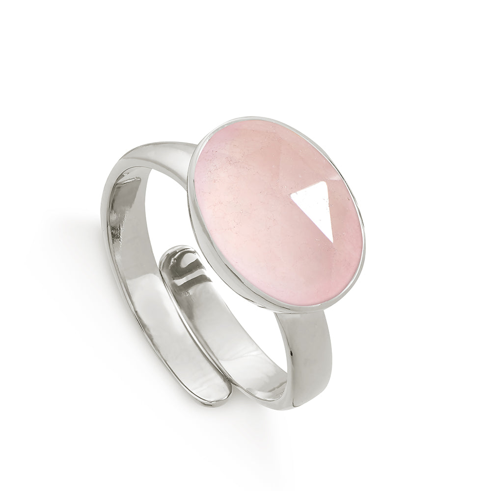 Atomic Maxi Rose Quartz Silver Ring