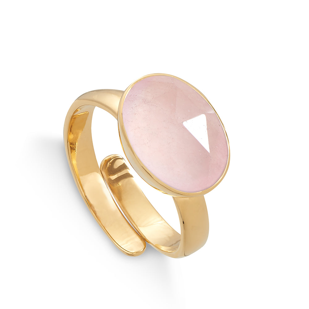 Atomic Maxi Rose Quartz Gold Ring