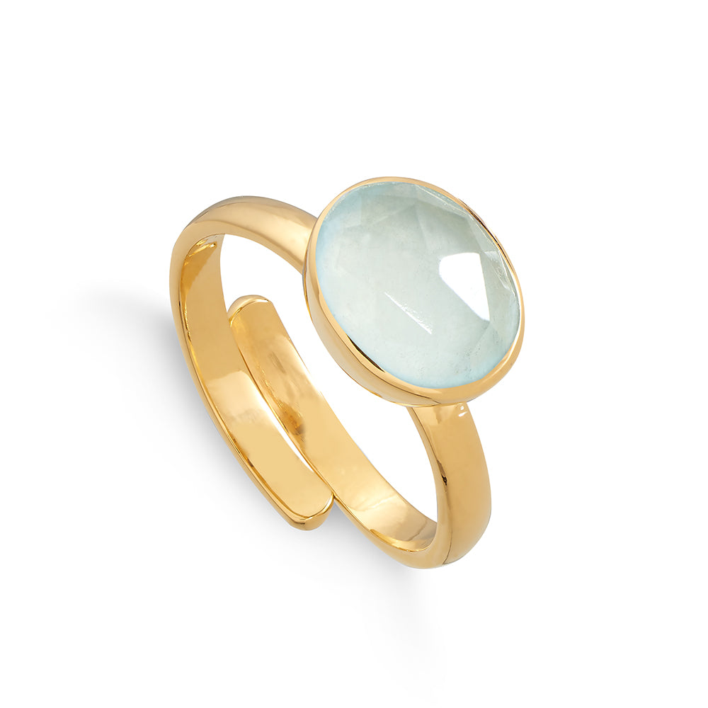 Atomic Midi Aqua Quartz Gold Ring