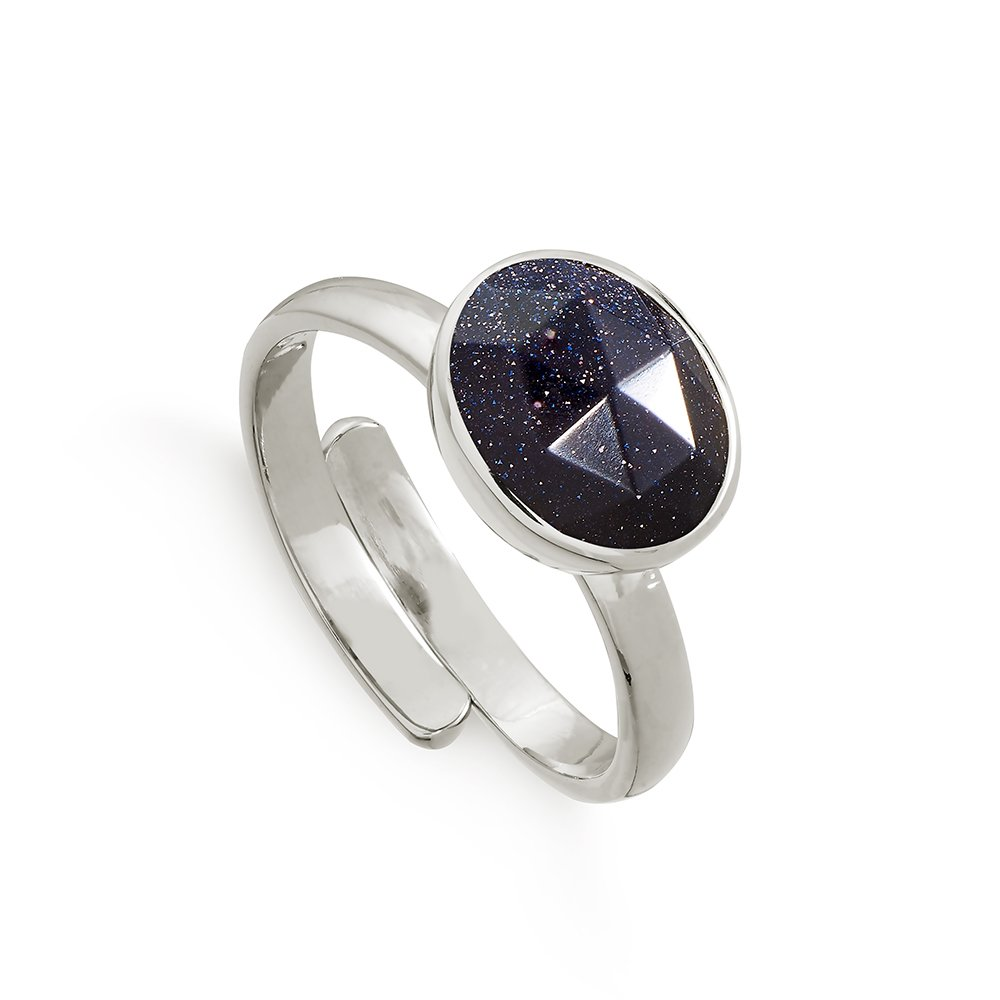 Atomic Midi Blue Sunstone Silver Ring