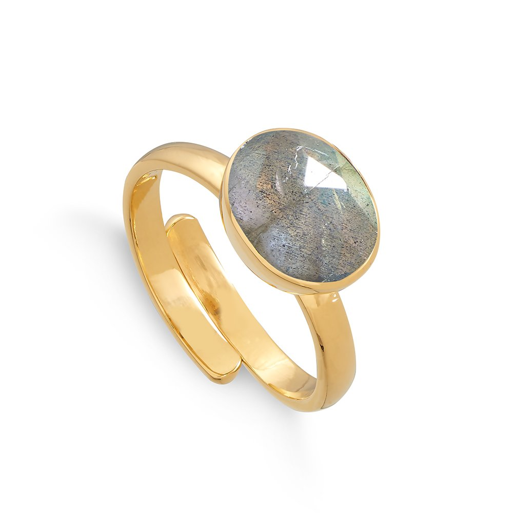 Atomic Midi Labradorite Gold Ring