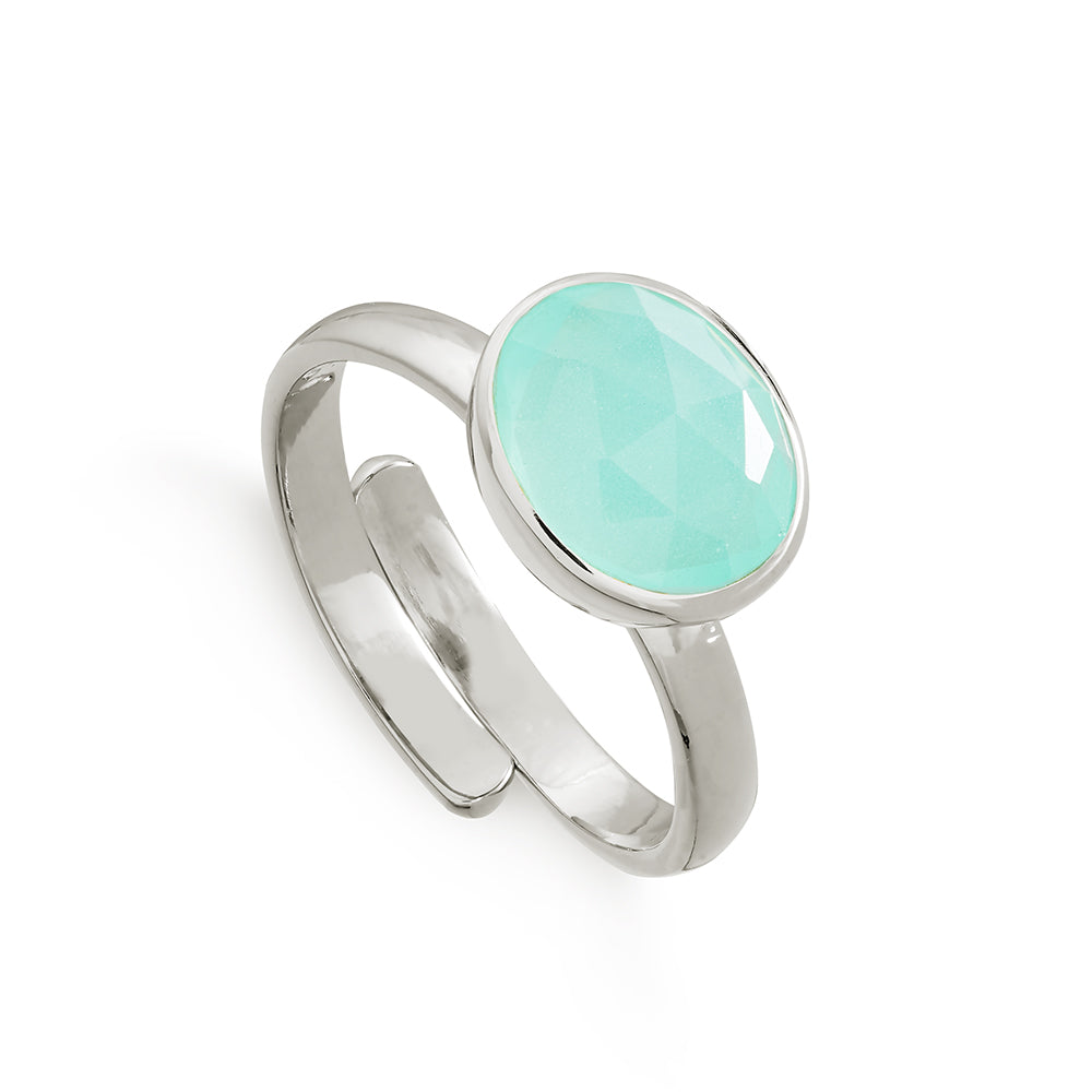 Atomic Midi Light Green Chalcedony Silver Ring