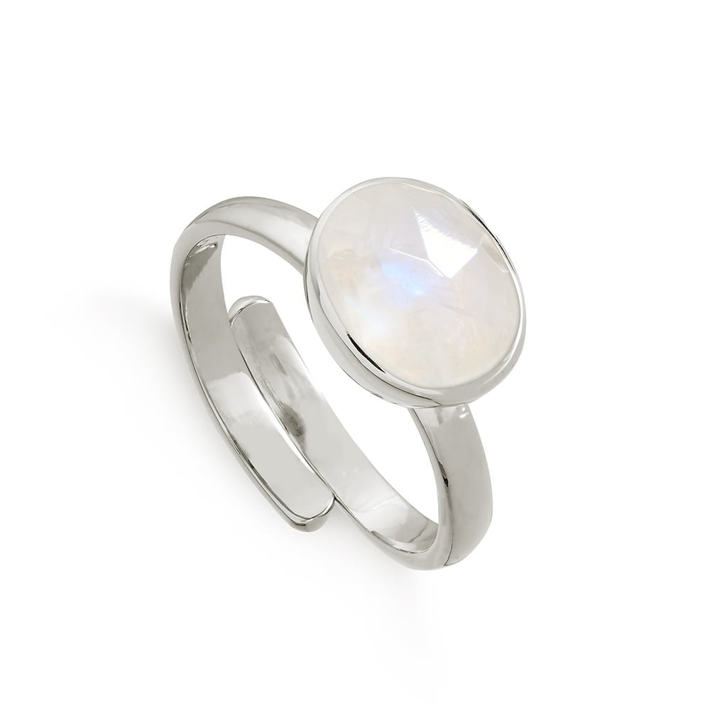 Atomic Midi Rainbow Moonstone Silver Ring