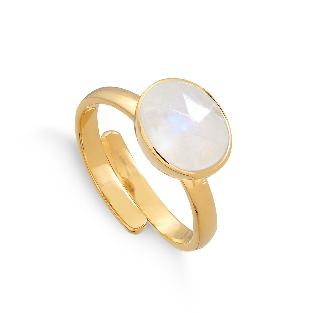 Atomic Midi Rainbow Moonstone Gold Ring