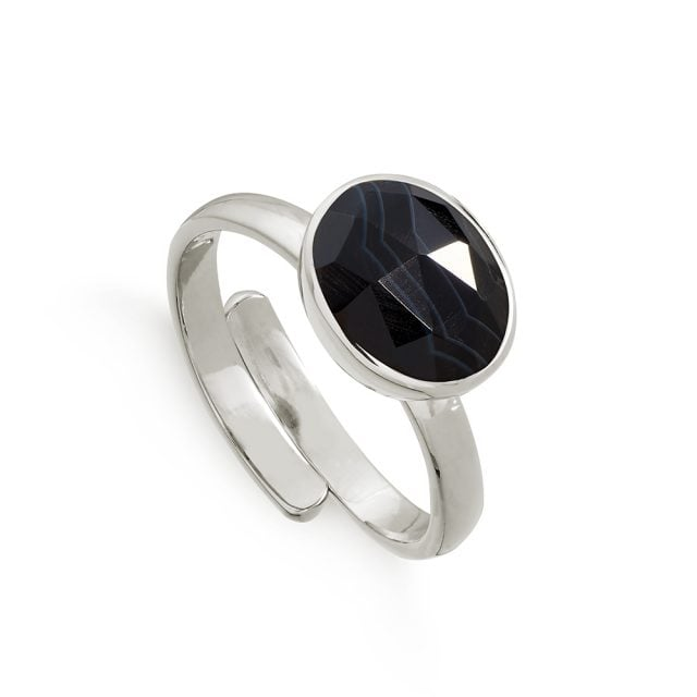 Atomic Midi White Striped Black Agate Silver Ring