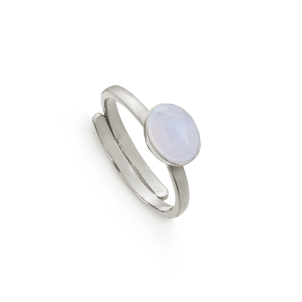 Atomic Mini Blue Lace Agate Silver Ring