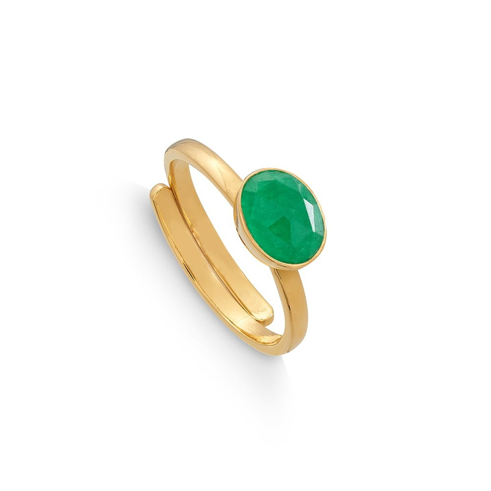 Atomic Mini Emerald Quartz Gold Ring