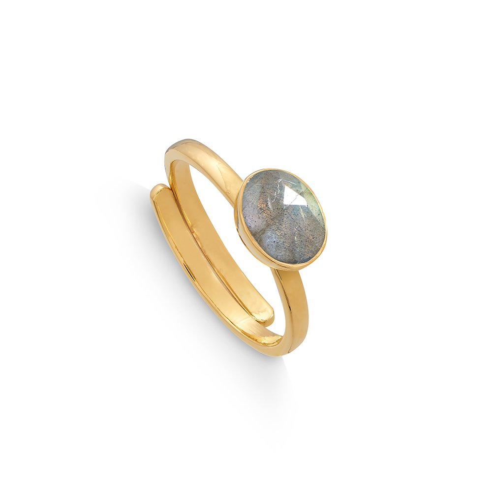 Atomic Mini Labradorite Gold Ring