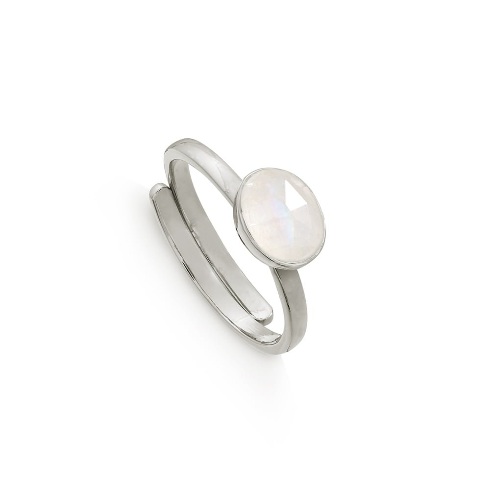 Atomic Mini Rainbow Moonstone Silver Ring