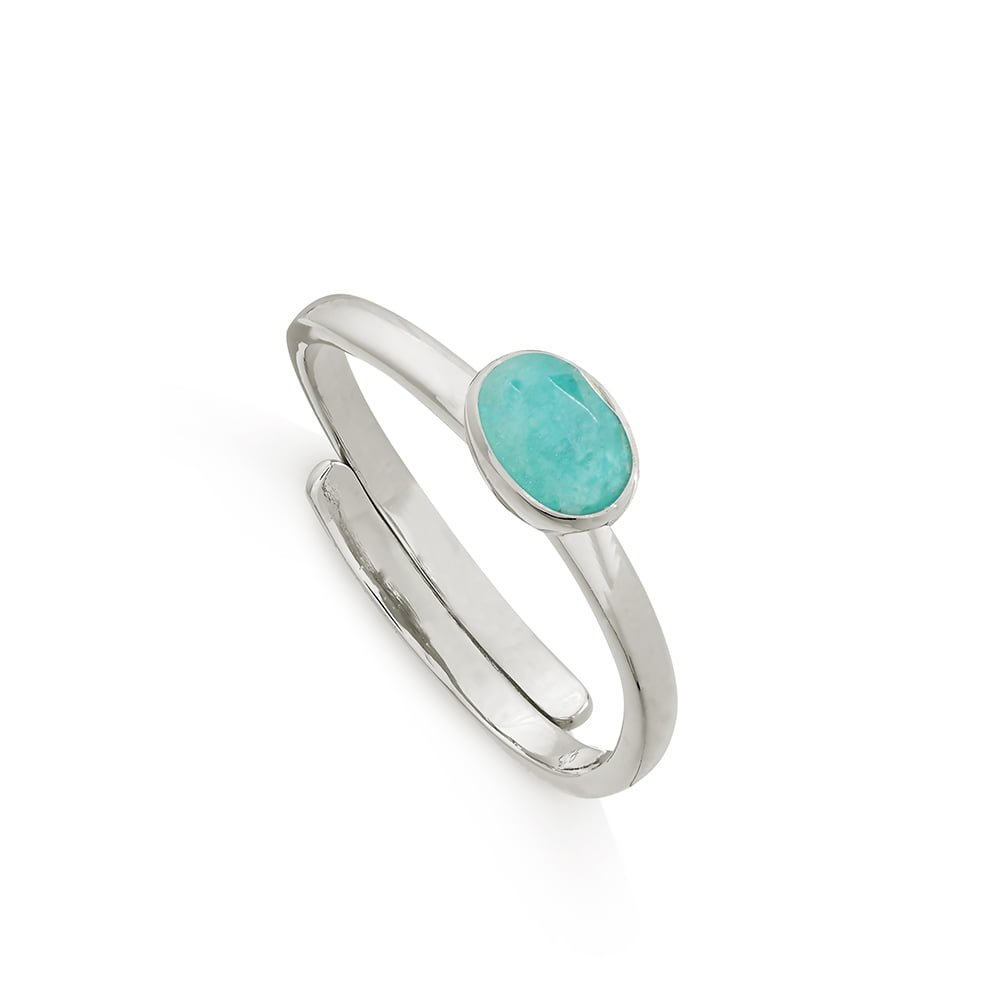 Atomic Micro Amazonite  Silver Ring