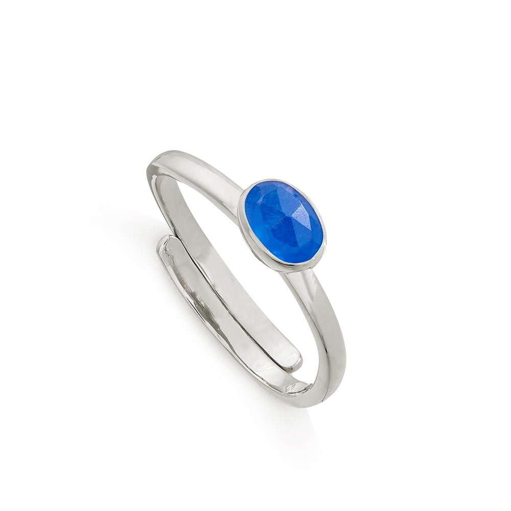 Atomic Micro Blue Quartz Silver Ring