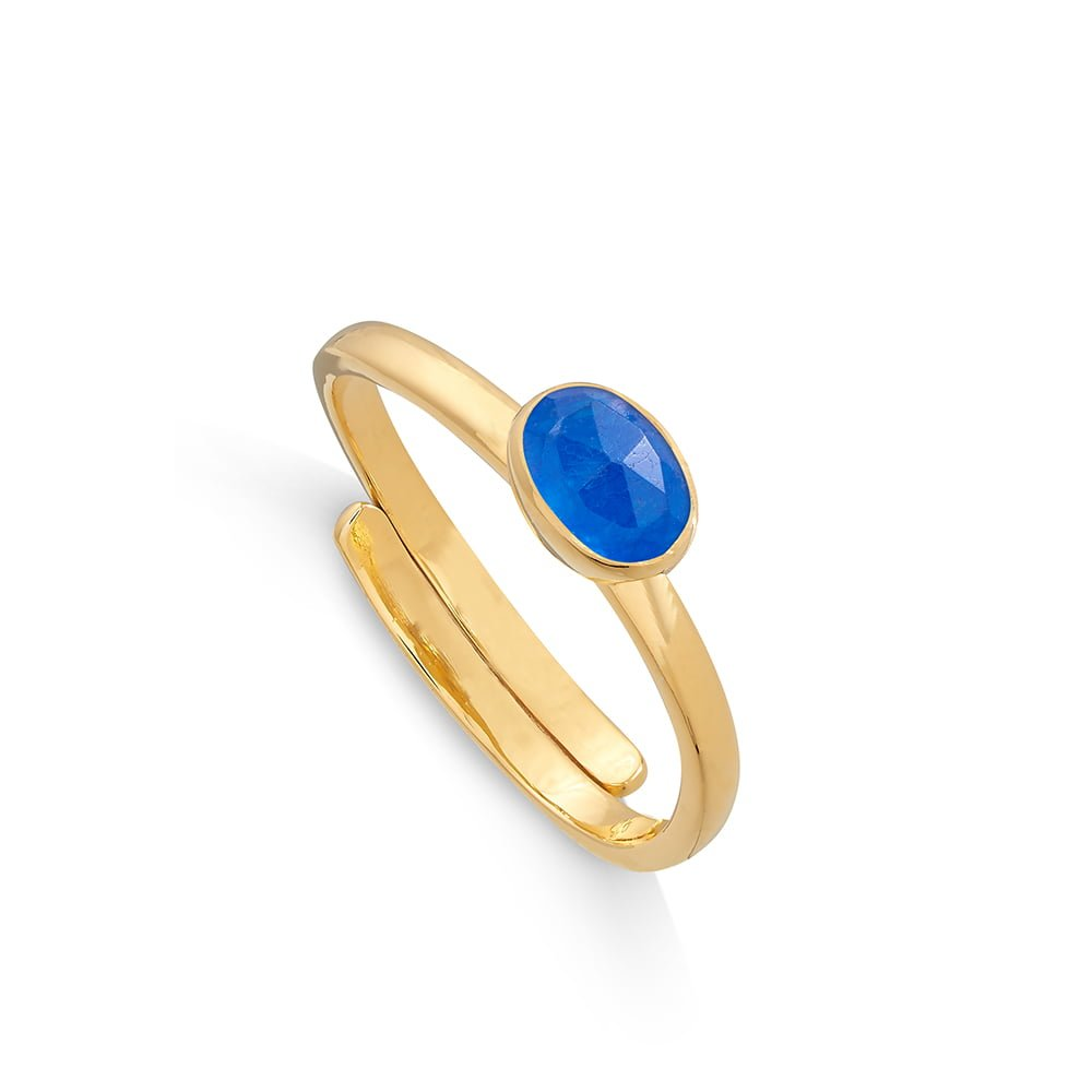 Atomic Micro Blue Quartz Gold Ring