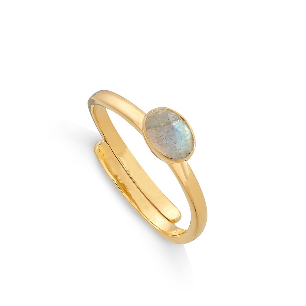 Atomic Micro Labradorite Gold Ring