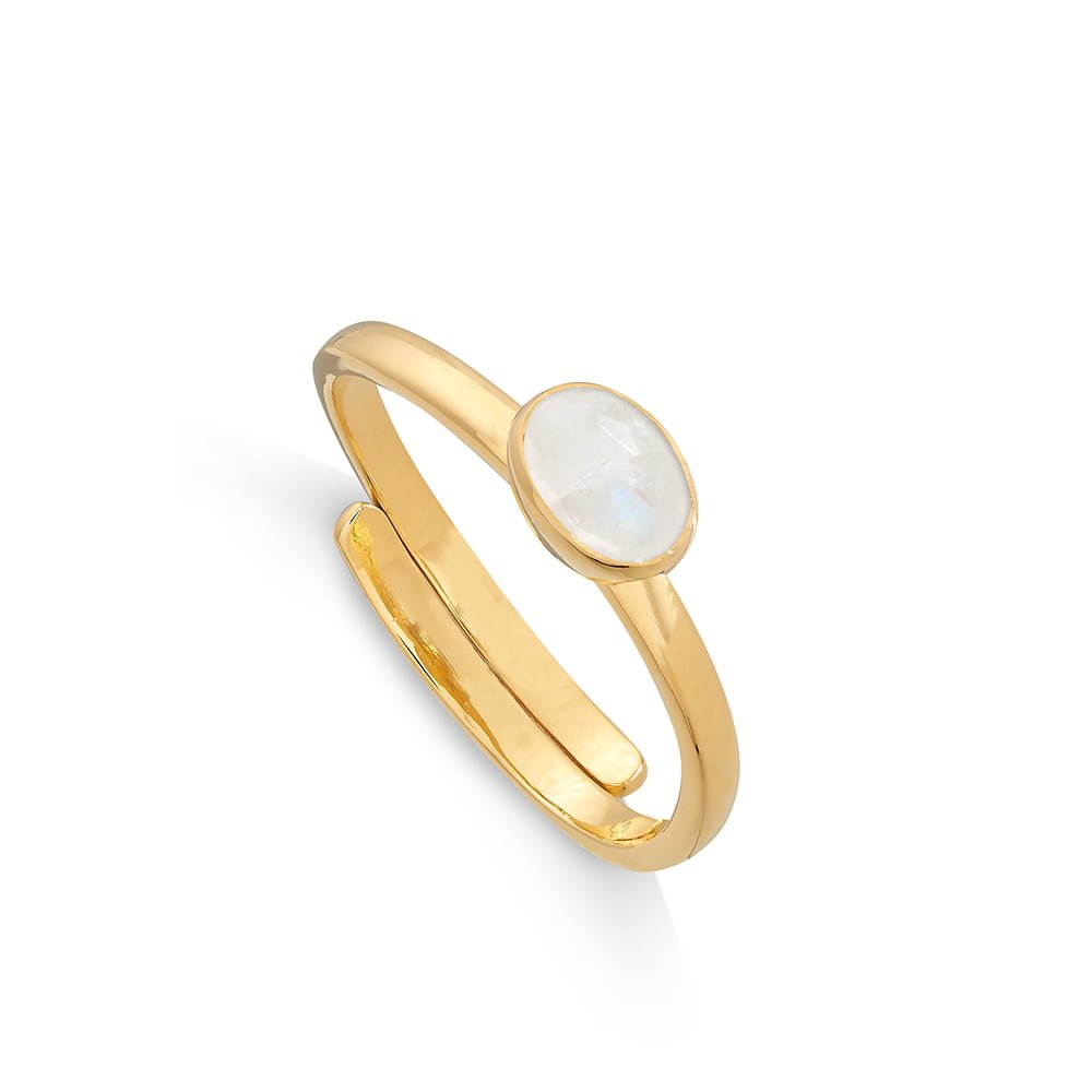 Atomic Micro Rainbow Moonstone Gold Ring