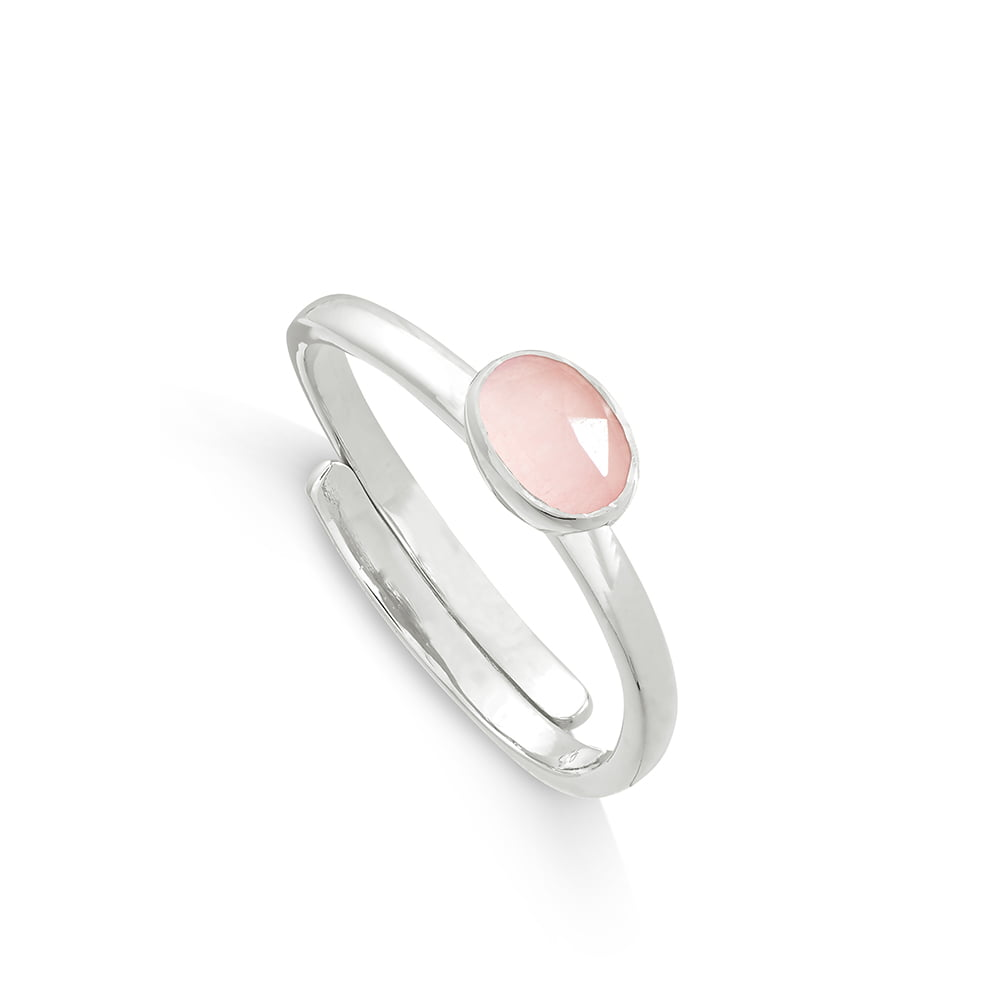 Atomic Micro Rose Quartz Silver Ring