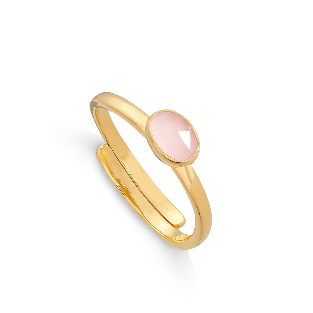 Atomic Micro Rose Quartz Gold Ring