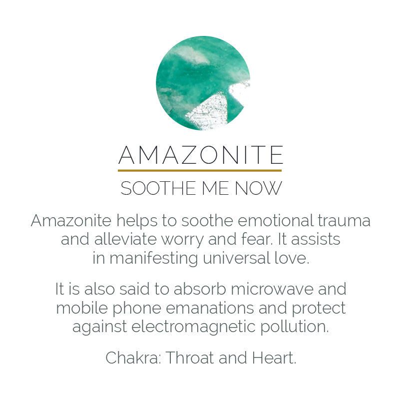 Amazonite – soothe me now gemstone meaning card