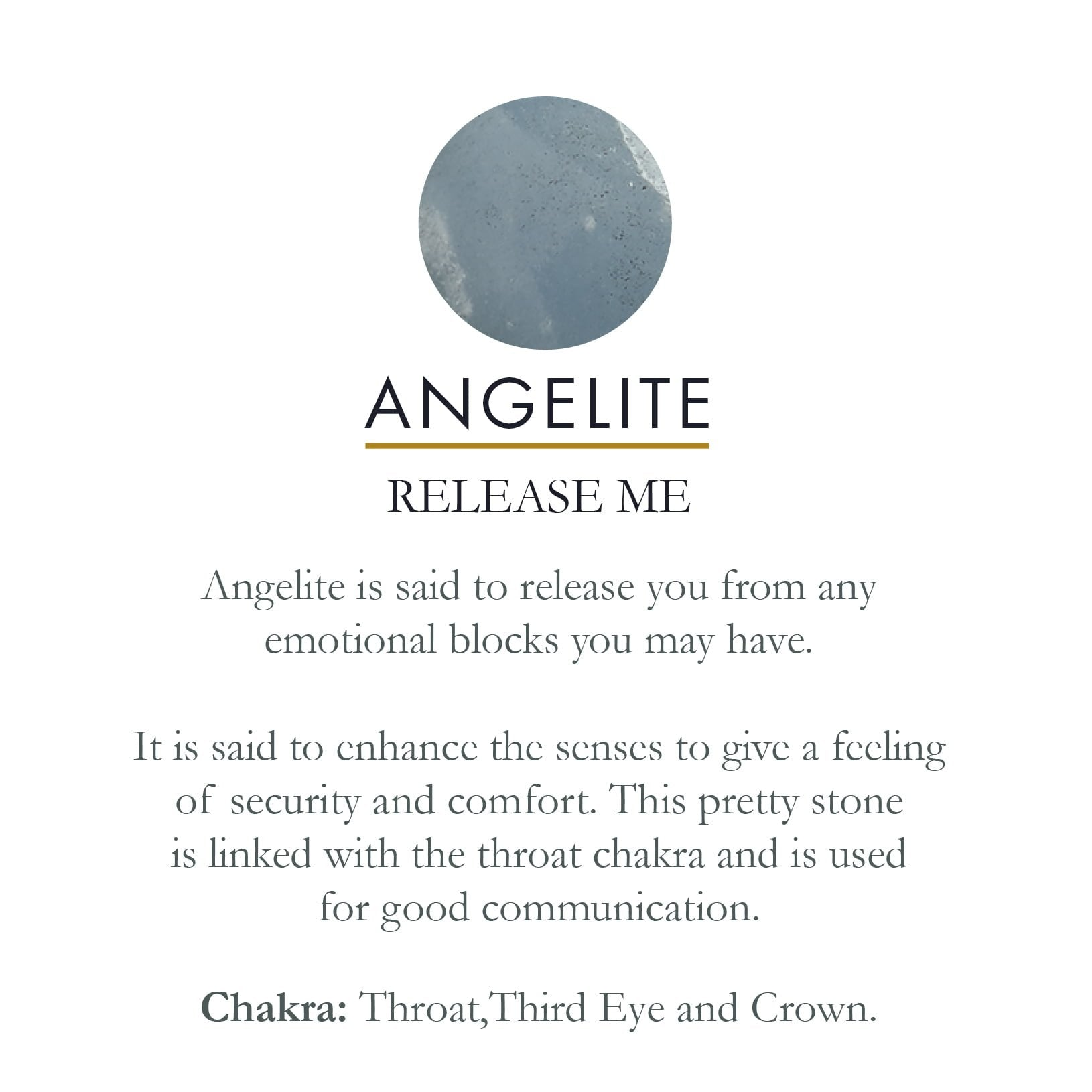 Angelite gemstone meaning card SVP Jewellery