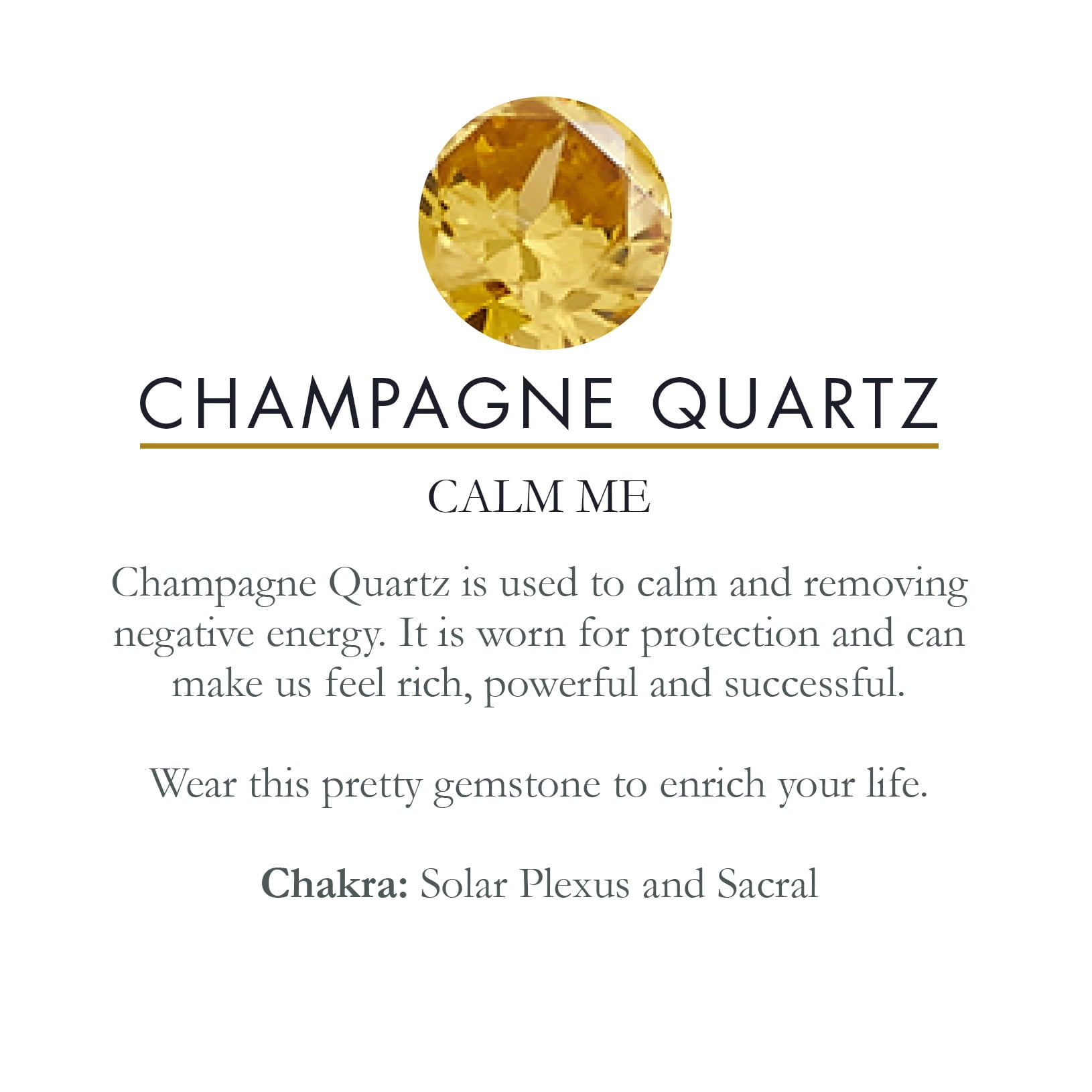 SVP Jewellery Champagne Quartz Stone Meaning card