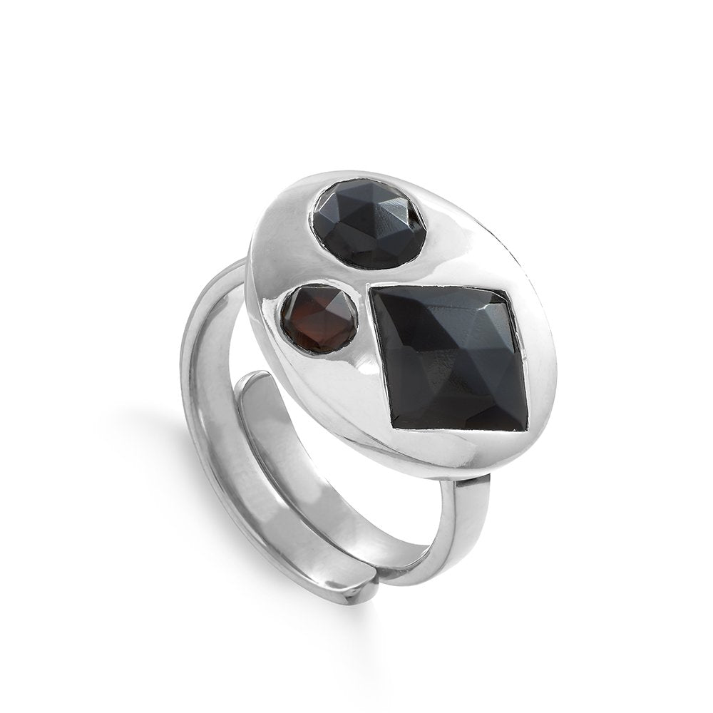 Large Disco Inferno Sterling Silver SVP adjustable ring set with three black quartz stones, SVP_Jewellery_Box for Adjustable Rings, SVP_Jewellery_Box for Adjustable Rings, SVP_Jewellery_mandrel_with-SVP-adjustable_rings, Black_Quartz_Stone_Meaning_SVP_Jewellery